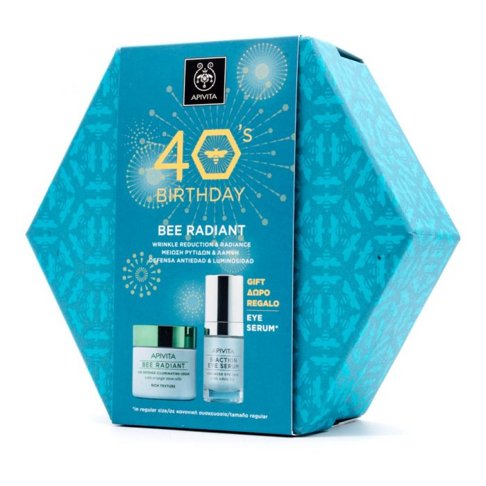 Apivita Bee Radiant Crema Textura Rica+5 Action Eye Serum Pack 40 Aniversario