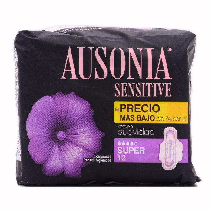 Ausonia Sensitive Super con Alas 12 Compresas Higiénicas